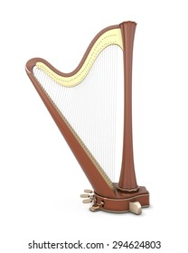 Harp isolated on white background. Music instruments series. 3d illustration.