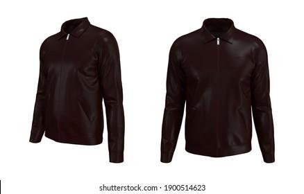 Harrington jacket mockup front and side views, 3d illustration, 3d rendering