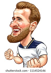 Harry Kane   English professional footballer who plays as a striker for Premier League club Tottenham Hotspur and captains the English national team, caricature,illustration,June,9,2018