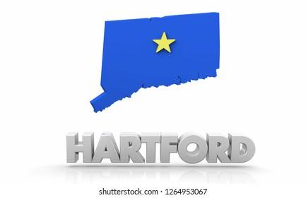 Hartford CT Connecticut City Map 3d Illustration