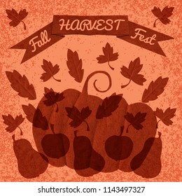 Harvest. Fall Fest. Concept of a holiday. Hand paper cut elements. Poster, banner, invitation. Apple, pears, pumpkin leaves ribbon with text Grunge background