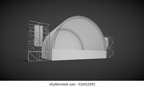 Harvesting scene on a neutral background; 3D illustration; 3D rendering