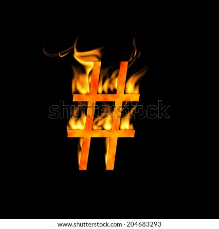 Hash Symbol Fire Alphabet Letter Isolated Stock Illustration