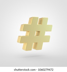 Hashtag icon. 3d render of golden hashtag symbol isolated on white background.