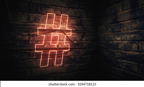 Hashtag Neon Sign mounted on brick wall, 3d rendering illustration