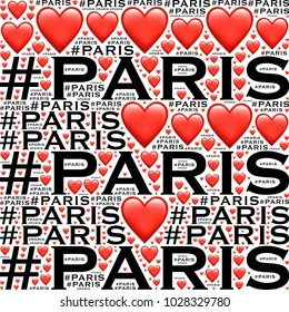 Hashtag paris words with hearts pattern on white background image