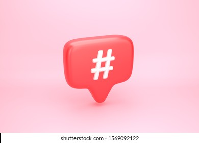 Hashtag search link symbol on social media notification icon. Comments thread mention or user reply sign. 3D illustration
