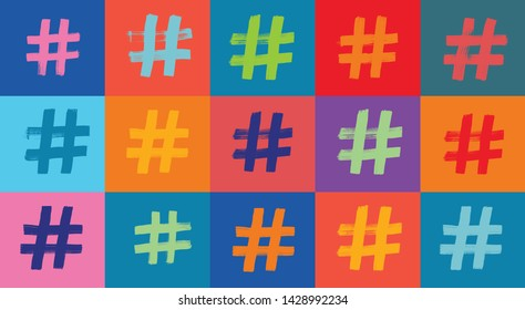Hashtag Symbol Pattern, Colorful Background, Illustration, Hash tags, Grunge Texture, Hashtag Symbol, Pattern, Colorful Background, Grunge Texture, hashtag,blogging, brush stroke, hash tagging,