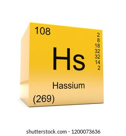 Hassium chemical element symbol from the periodic table displayed on glossy yellow cube 3D render