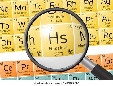 Hassium from Periodic Table of the Elements with magnifying glass