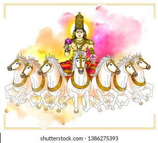 Hasta – Savitar: Image of Savitar, the presiding deity of Hasta Nakshatra. Holding a lotus in his right hand, he rides a chariot driven by 7 horses