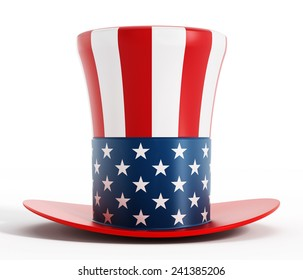 Hat with American flag texture.