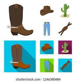 Hat, cactus, jeans, knot on the lasso. Rodeo set collection icons in cartoon,flat style bitmap symbol stock illustration web.