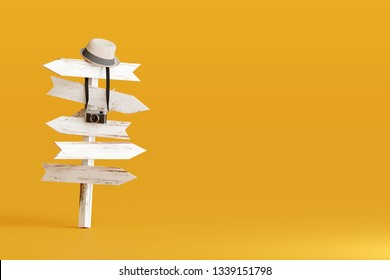 Hat and camera with signpost on yellow background. Travel concept 3d rendering