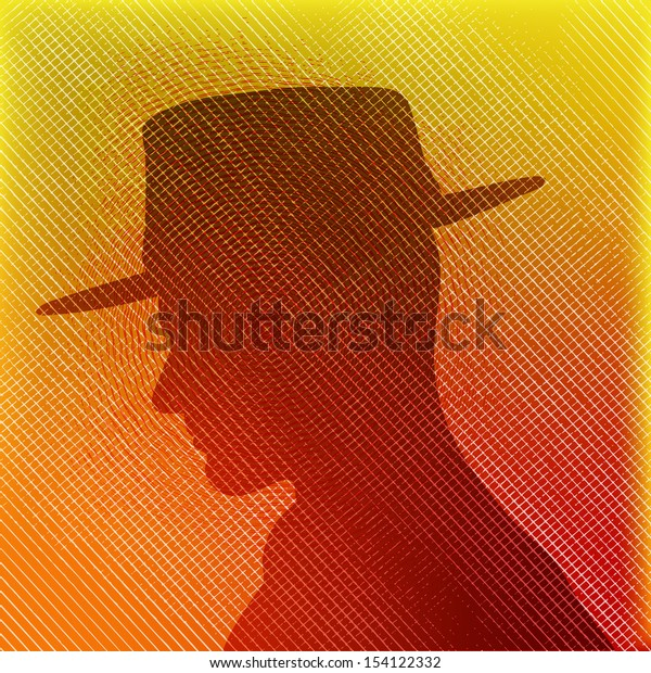 Hat Man, texture background with male head in silhouette