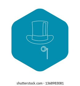 Hat with monocle icon. Outline illustration of hat with monocle icon for web