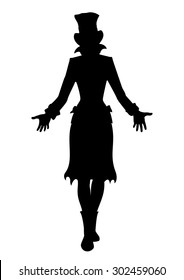 Hat woman silhouette. Illustration silhouette of a girl in a tall hat. She is stretching hands forward.