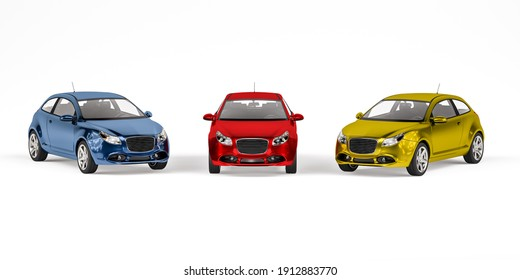 Hatchback passenger car in three metallic colors blue, red and yellow isolated on white background - front view - 3d render