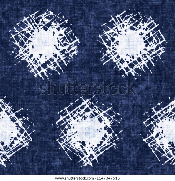 Hatched Bold Dot Dyed In Mottled Shades Of Indigo And White. Seamless Pattern.