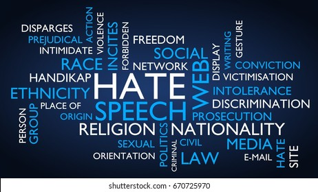 Hate speech word tag cloud. 3D rendering, blue variant