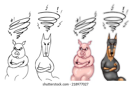 Hatred. Illustration of doberman and pig sitting angry at each other. On the left side black and white drawing, on the right side digitally colored illustration. Isolated on white