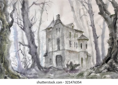 Haunted castle in the autumn bare tree forest, original watercolor painting.