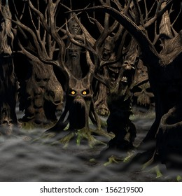 Haunted Forest - a forest of twisted, disturbed, tormented and evil trees on a foggy night.  Happy Halloween.