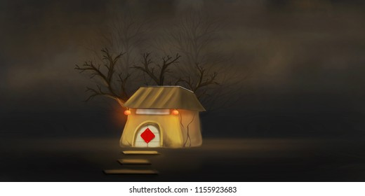 Haunted horror house. Old wooden  dark evil haunted house with evil spirits with full moon cold fog atmosphere and digital painting.