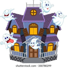 Haunted house with ghost isolated on white background.