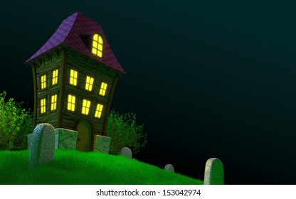Haunted house on a hilly cemetery. Halloween 3D image