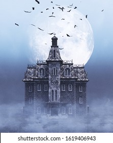 Haunted house scene for halloween,3d rendering