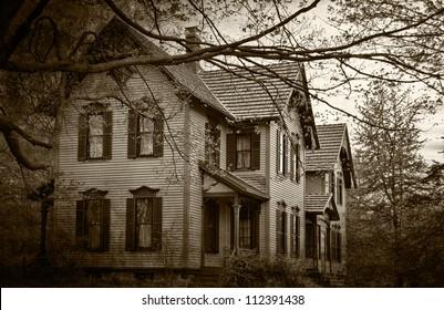 haunted house in sepia tones