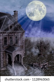 Haunted mansion illuminated by a full moon. 3D Illustration.