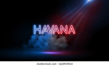 Havana is Cuba's capital city | Country name in neon light effect, Studio room environment with smoke and spotlight.