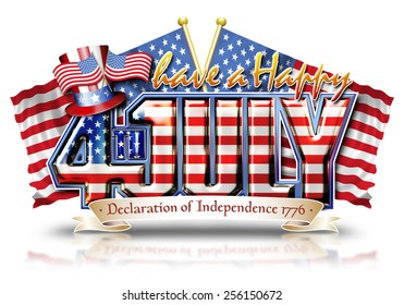 Have a Happy 4th July Graphic with Uncle Sam'??s Top Hat over Stars and Stripes flags with clipping path.