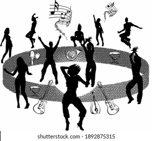 having fun with the music on the wall, musical instruments