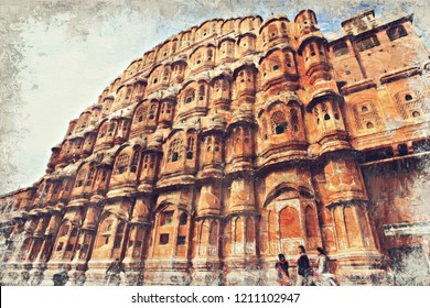 Hawa Mahal or Palace of Winds Jaipur,India. Digital Art Impasto Oil Painting by Photographer.