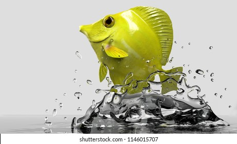 Hawaian yellow tang out of water 3d rendering