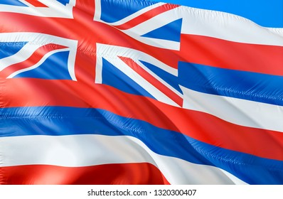Hawaii flag. 3D Waving USA state flag design. The national US symbol of Hawaii state, 3D rendering. National colors and National flag of Hawaii for a background. American state flag silk