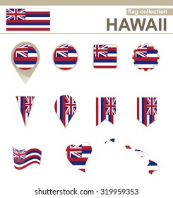 Hawaii Flag Collection, USA State, 12 versions, Rasterized Copy