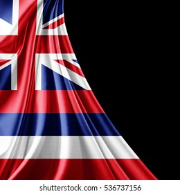 Hawaii  flag of silk with copyspace for your text or images and black background-3D illustration