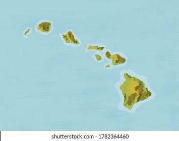 hawaii hawaiian islands map chart
