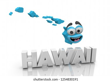 Hawaii HI State Map Cartoon Face Word 3d Illustration