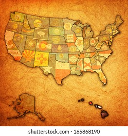 hawaii on old vintage map of usa with state borders