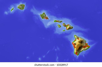 Hawaii. Shaded relief map.  Shows major cities and rivers. Colored according to terrain height.