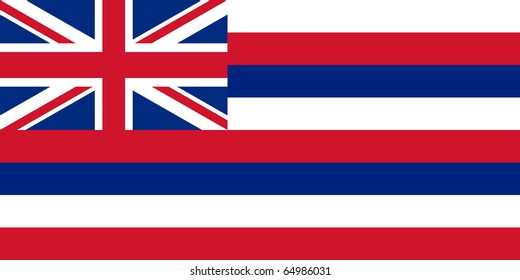 Hawaii state flag of America, isolated on white background.