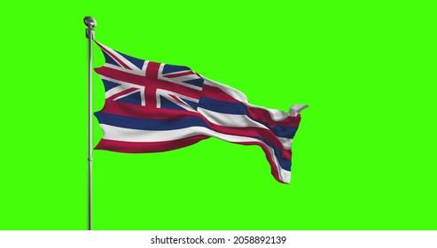 Hawaii State Flag Waving on chroma key background. Unites States of America footage, USA flag 3D illustration
