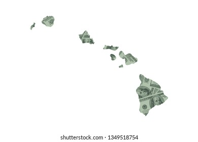 Hawaii State Map and Money Concept, Hundred Dollar Bills