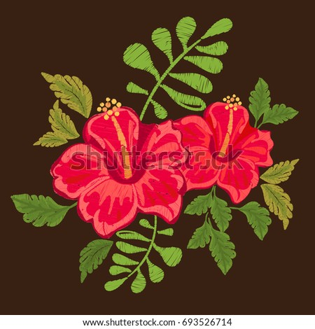 Hawaii Symbol Hibiscus Embroidery Exotic Blossom Stock Illustration