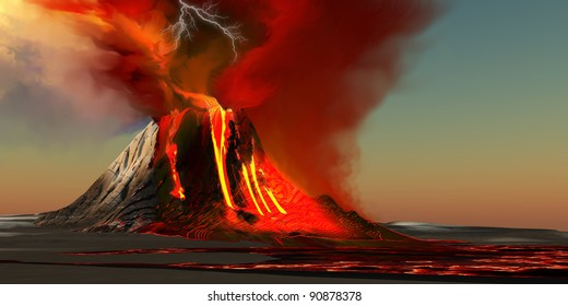 Hawaii Volcano - The Kilauea volcano erupts on the island of Hawaii with plumes of fire and smoke. Rivers of lava head to the ocean making new land.